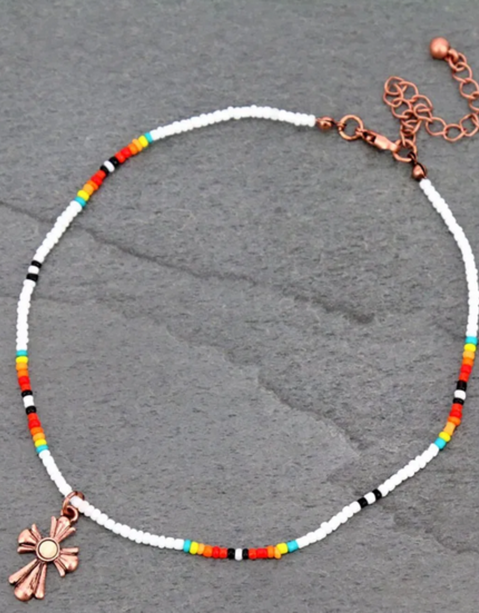 NECKLACE CROSS SEED BEAD CHOKER