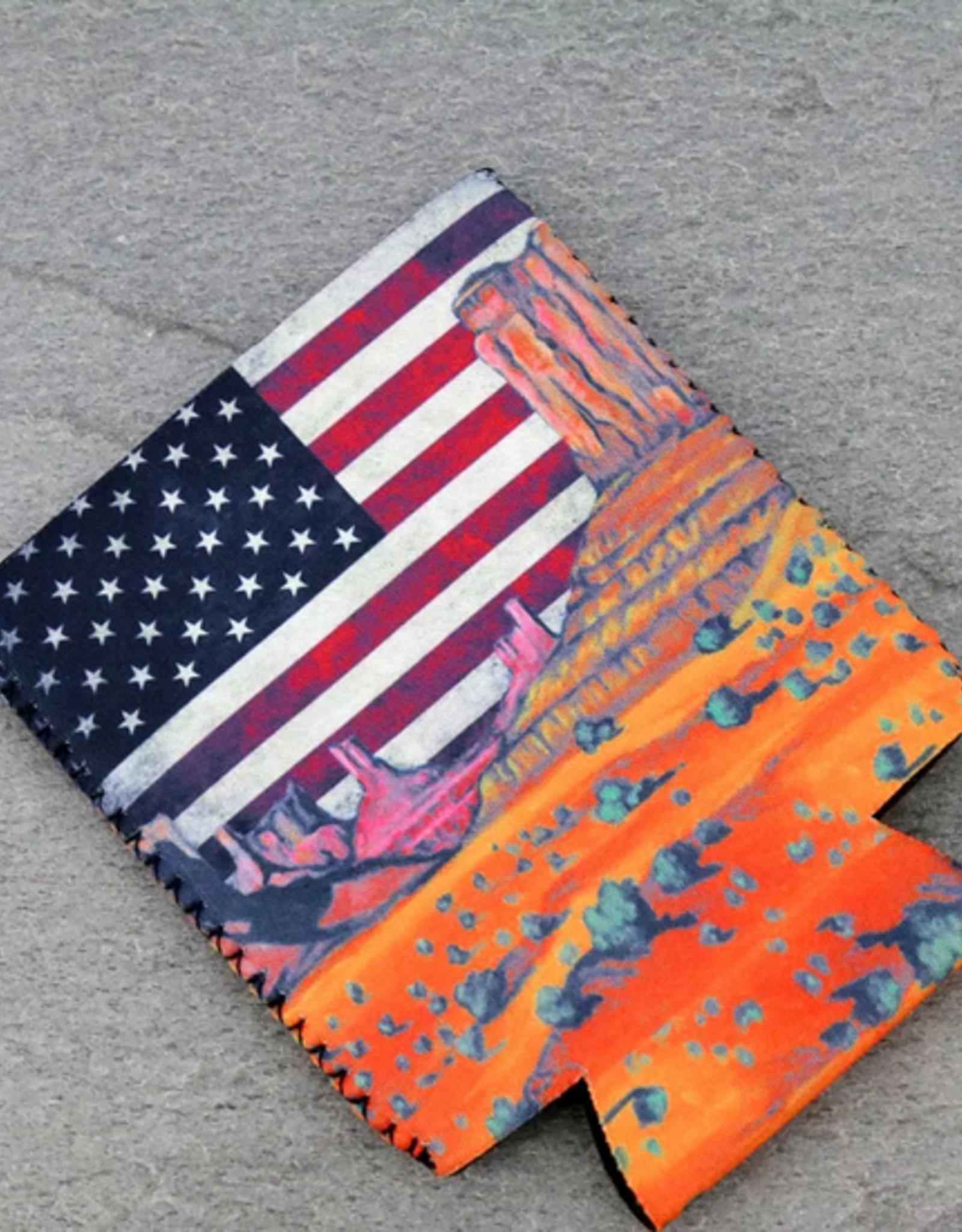 DRINK SLEEVE KOOZIE AMERICAN FLAG SOUTHWEST LANDSCAPE