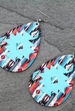 EARRINGS LARGE TQ SERAPE TEARDROP WOOD FISH HOOK