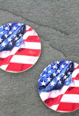 CAR COASTER ABSORBENT CERAMIC ASSORTED PATTERNS AMERICAN FLAG