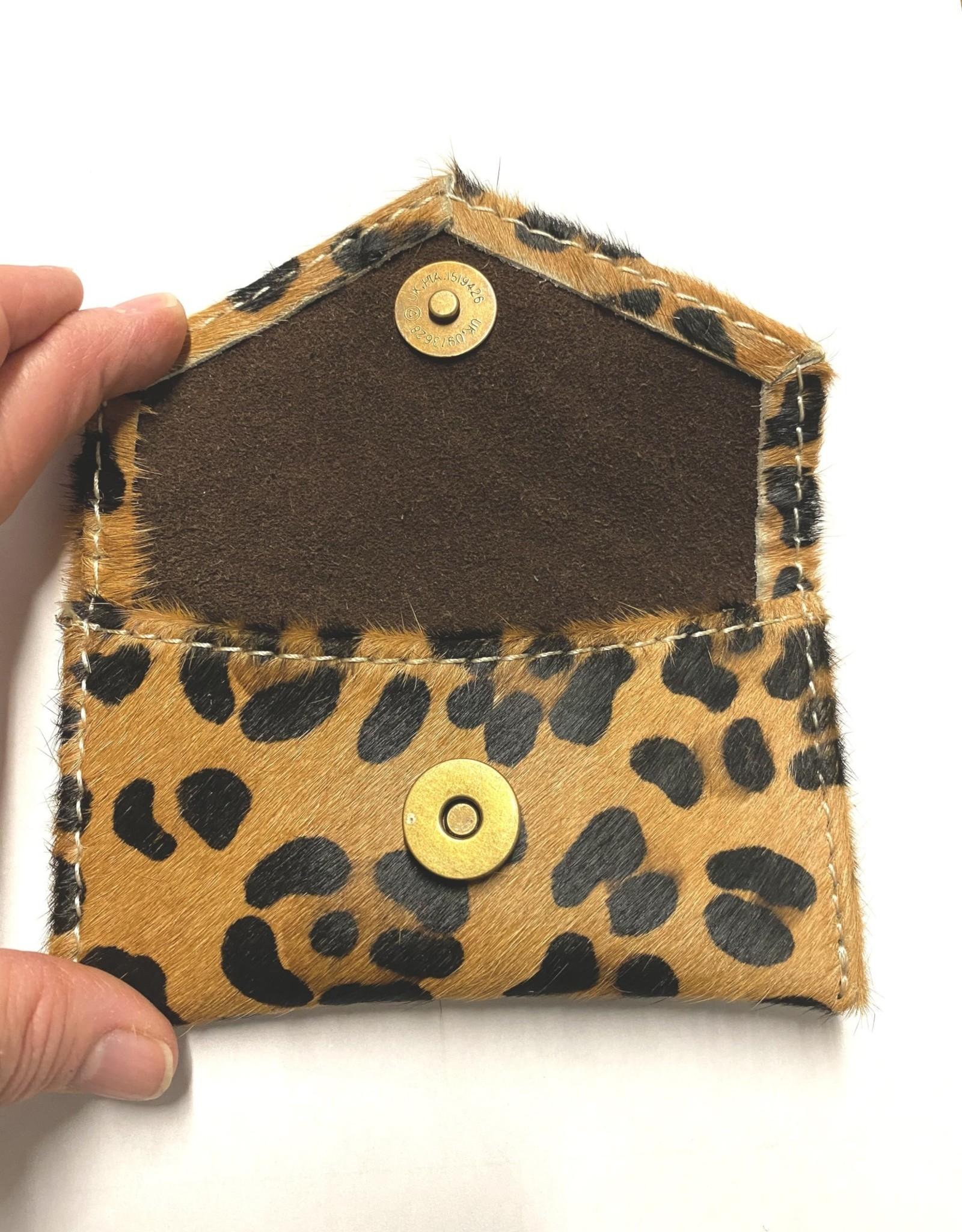WALLET COIN CARD LEATHER HAIR CHEETAH PURSE