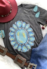 WMS TEE GRAPHIC WESTERN TURQUOISE ON CHARCOAL HEATHER