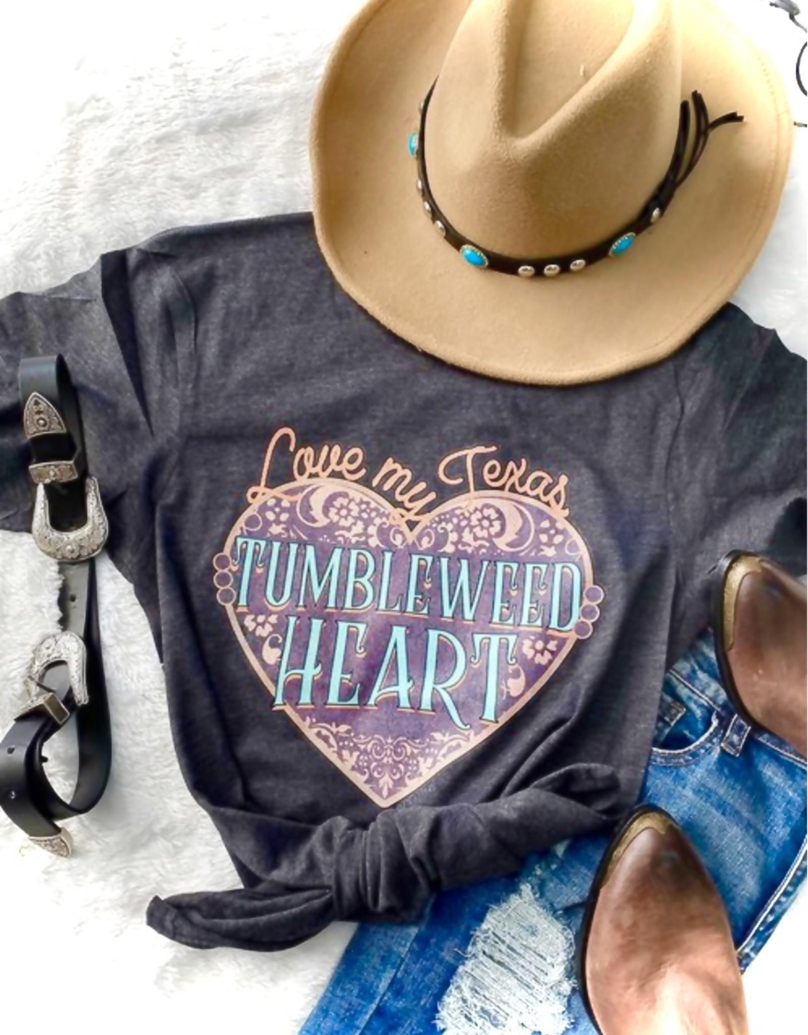 WMS TEE TUMBLEWEED HEART GRAY HEATHER WESTERN
