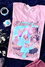 WMS TEE BLAME IT ALL ON MY ROOTS WESTERN CACTUS LIGHT PINK