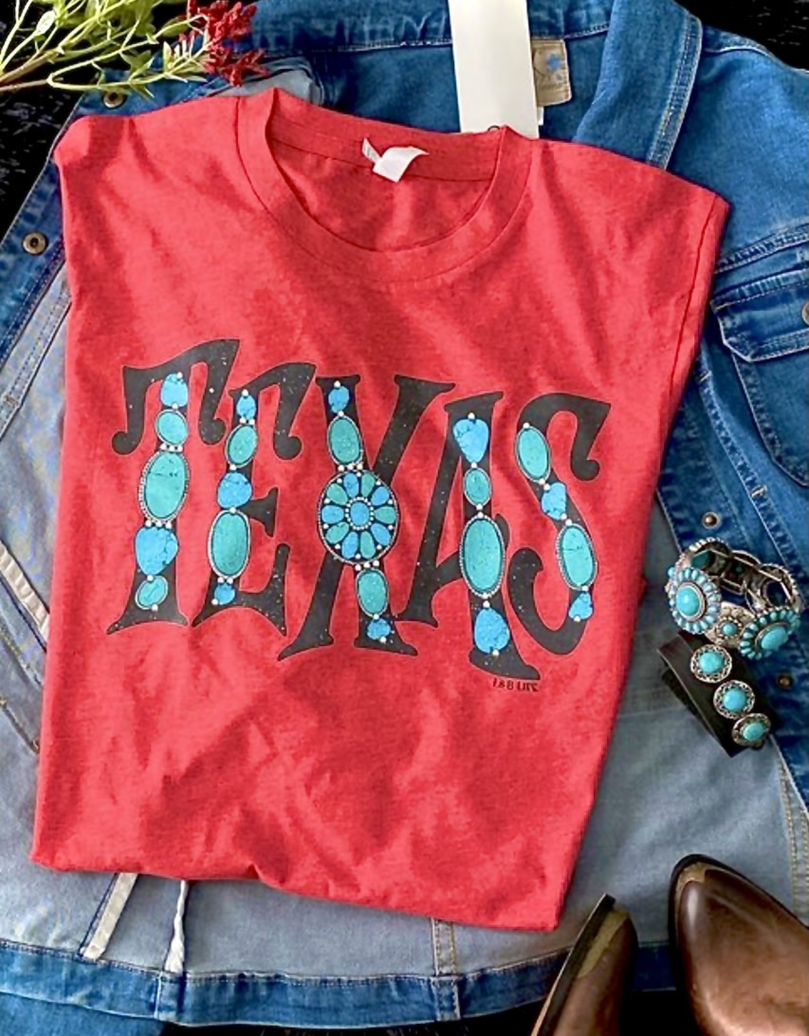 WMN TEE SHIRT TEXAS TURQUOISE RED HEATHER