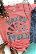 WMN TEE SHIRT RANCH QUEEN WINDMILL WESTERN CORAL