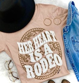WMN TEE SHIRT HER HEART IS A RODEO WESTERN HEATHER PEACH