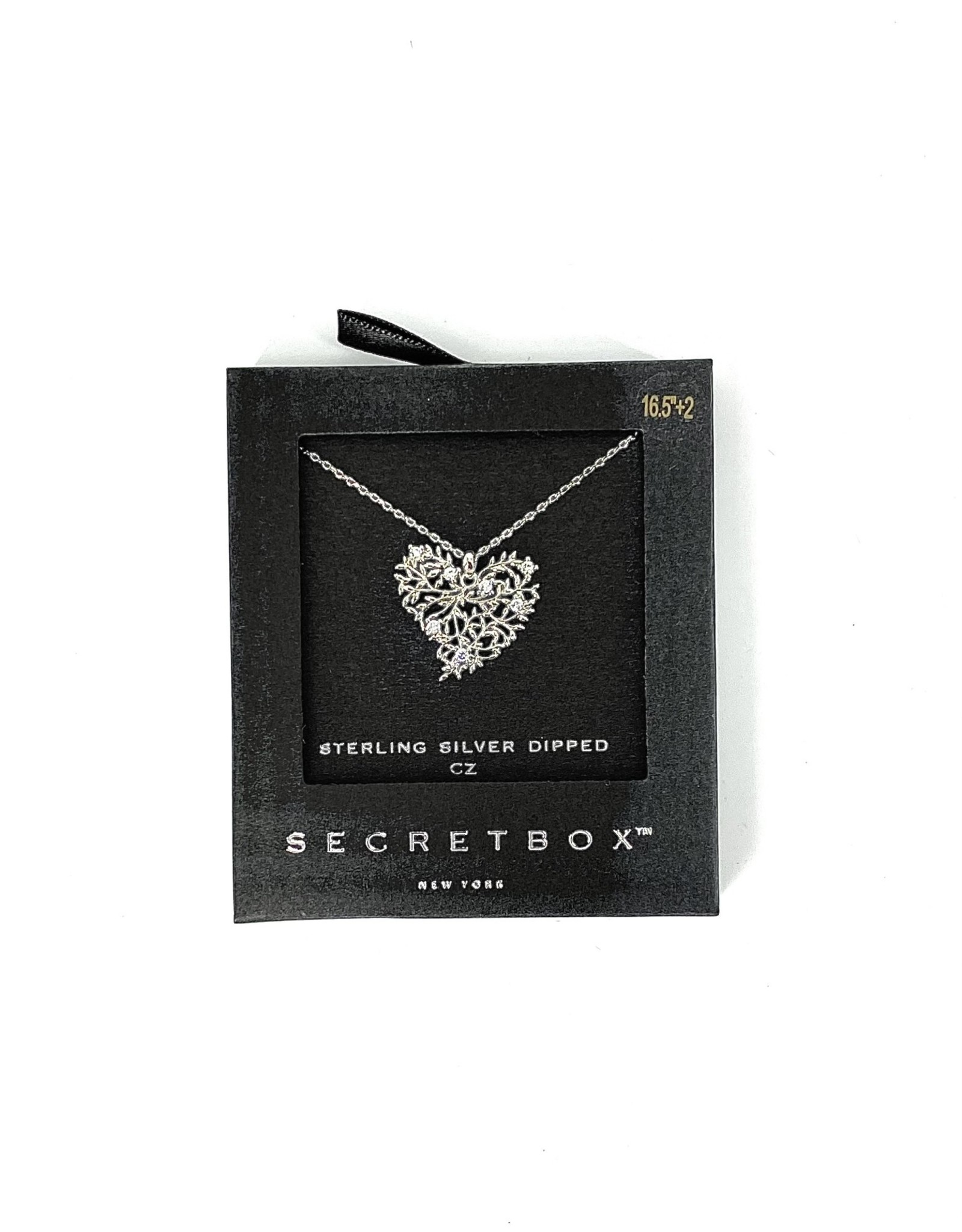 NECKLACE HEART EMBOSSED STERLING SILVER DIPPED CZ