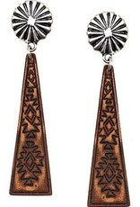EARRING CONCHO W LEATHER TRIANGLE POST AZTEC STAMP