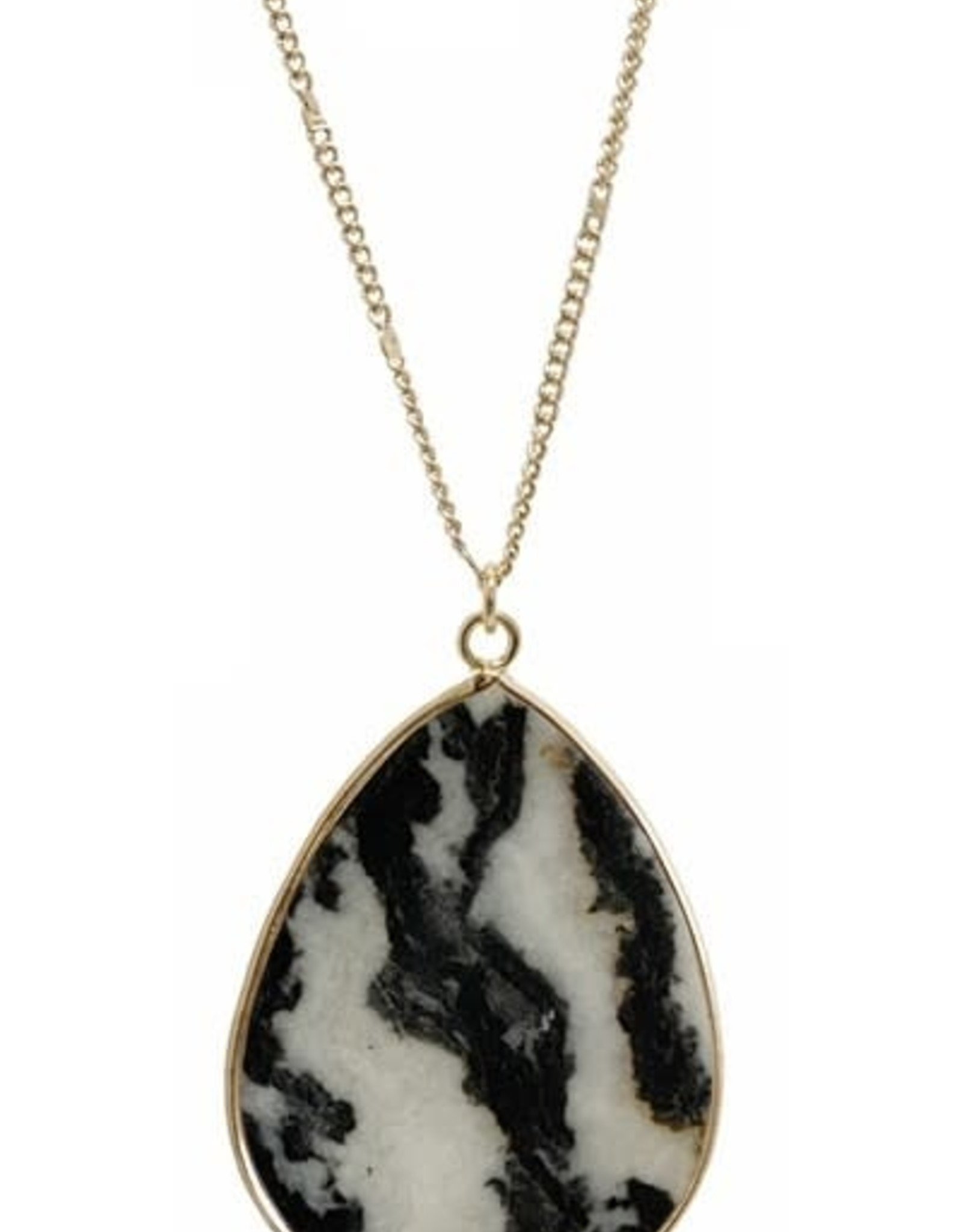 NECKLACE NATURAL STONE TEARDROP GOLD DOT CHAIN