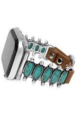 WATCH BAND APPLE IPHONE TURQUOISE 10 OVAL STONE LEATHER STRAP