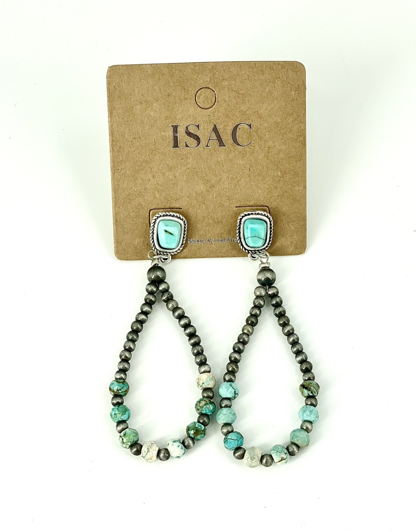 EARRING NATURAL STONE TURQUOISE NAVAJO PEARL POST