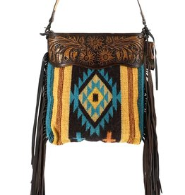 """PURSE TOTE XL AD AZTEC BRN/TEAL/YELLOW TOOLED CROSSBODY 14X15X4"""" CONCEALED CARRY CC"""