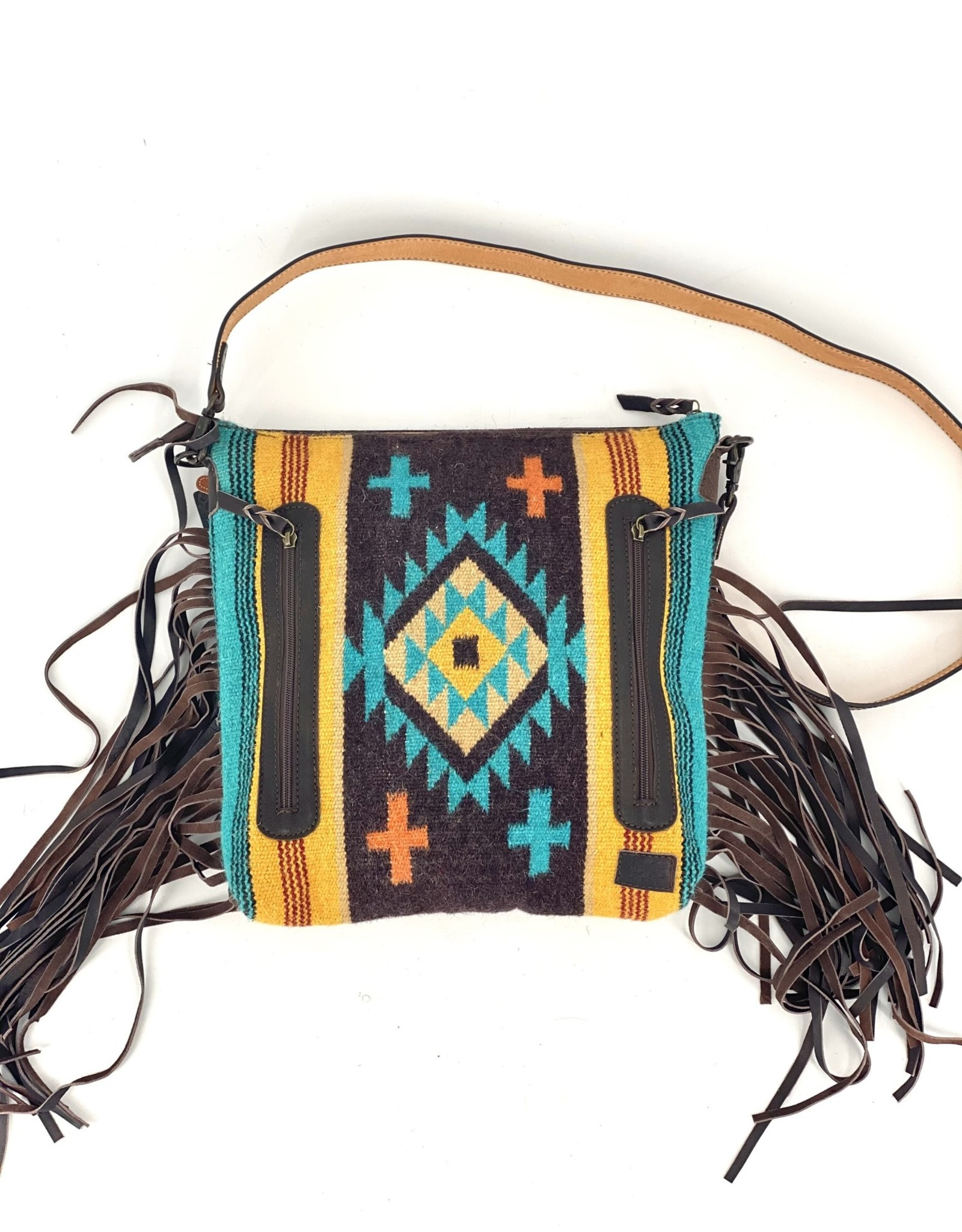 "PURSE TOTE XL AD AZTEC BRN/TEAL/YELLOW TOOLED CROSSBODY 14X15X4"" CONCEALED CARRY CC"