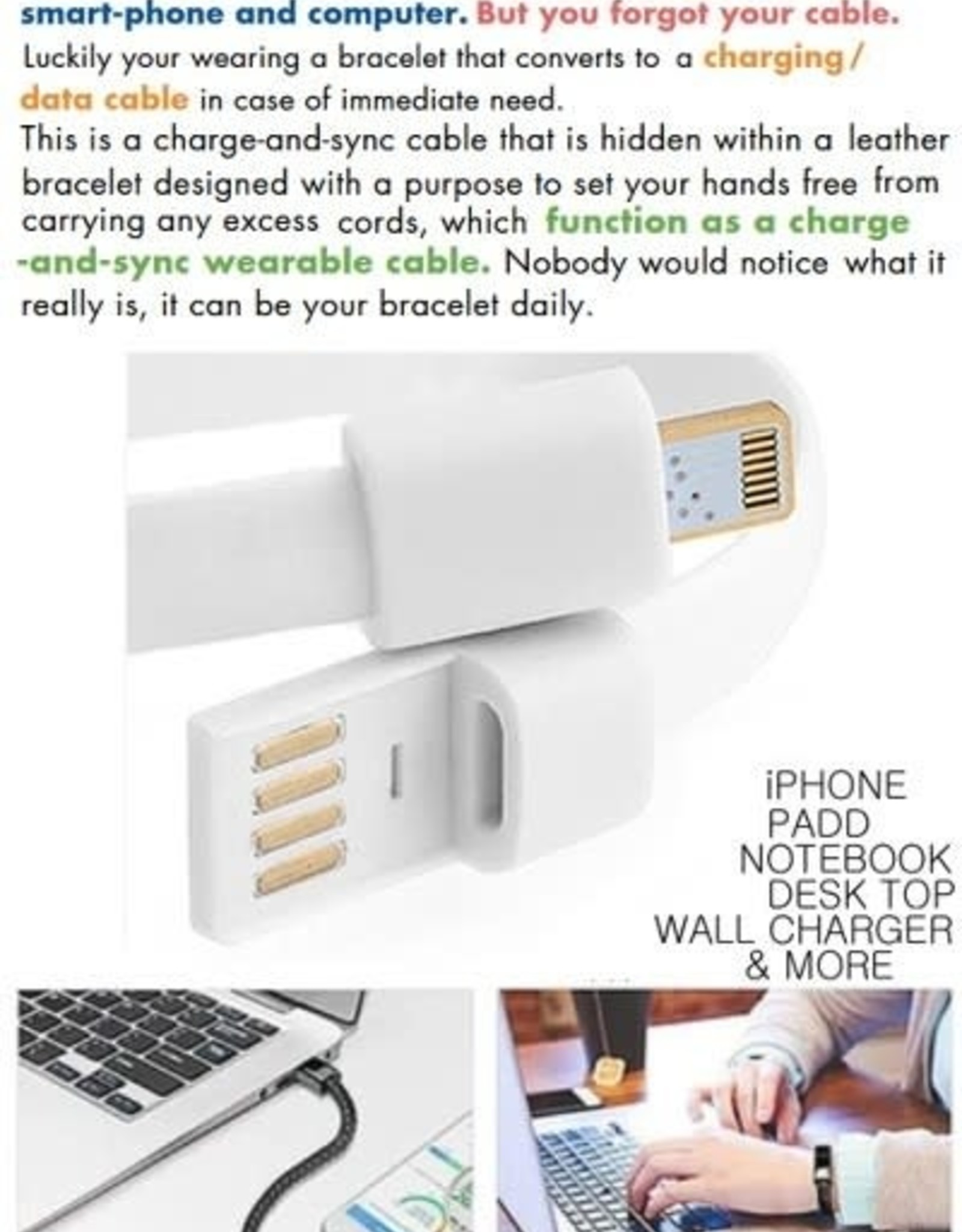 BRACELET USB APPLE CHARGE CORD 3 STRAND GEM STONE GLASS BALL BLACK