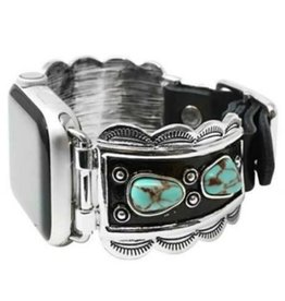 WATCH BAND APPLE IPHONE TURQUOISE BLACK SILVER LEATHER  STRAP