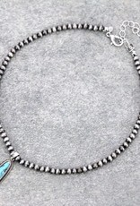 NECKLACE NAVAJO PEARL 4MM NATURAL STONE PENDANT LONG OVAL CHOKER