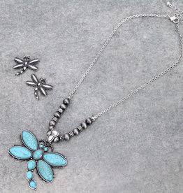 NECKLACE NATURAL STONE DRAGONFLY SET