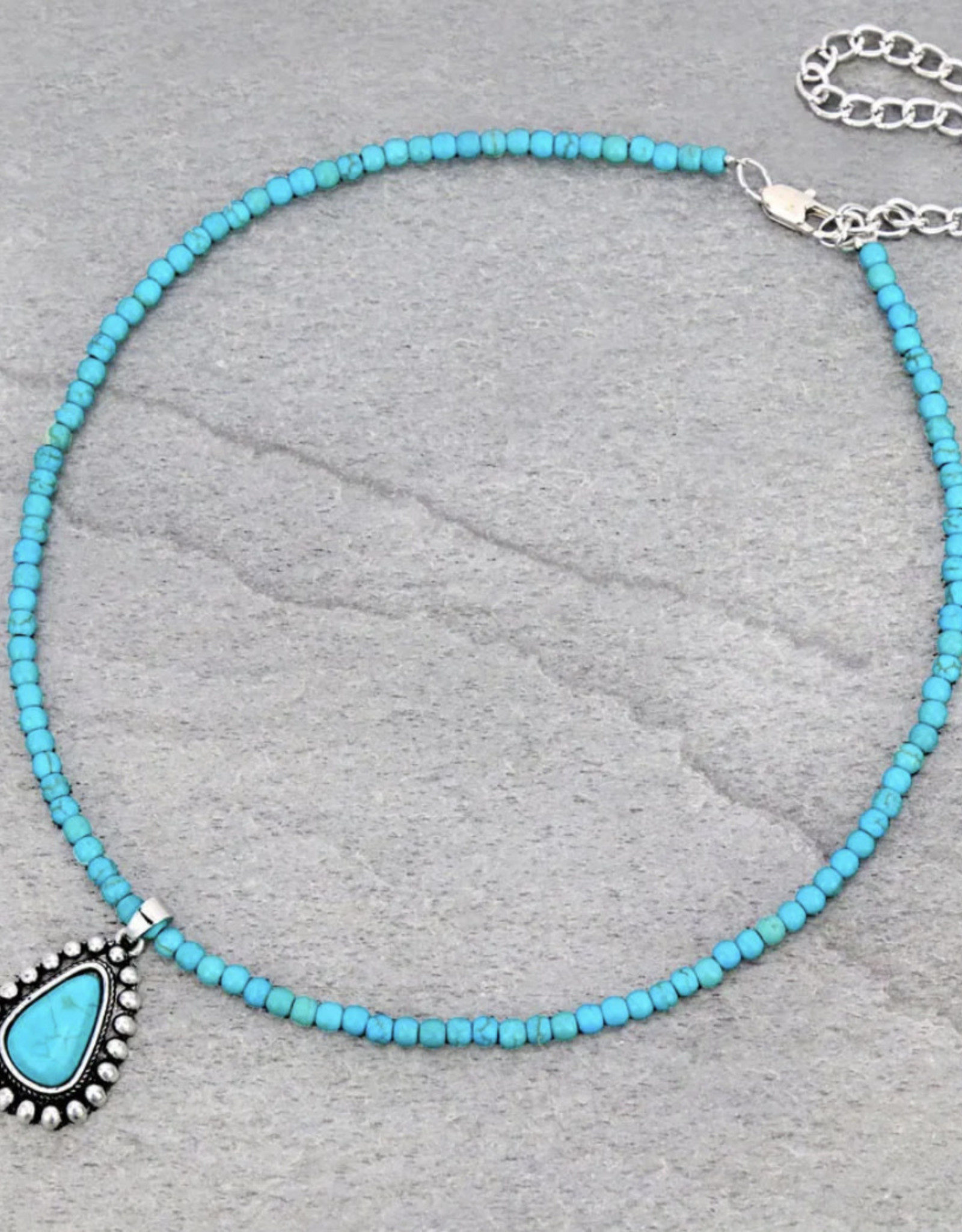 NECKLACE NATURAL STONE 4MM BEAD TURQUOISE W PENDANT