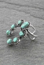 RING SQUASH BLOSSOM NATURAL TURQ COLOR STONE WITH DOUBLE BAND