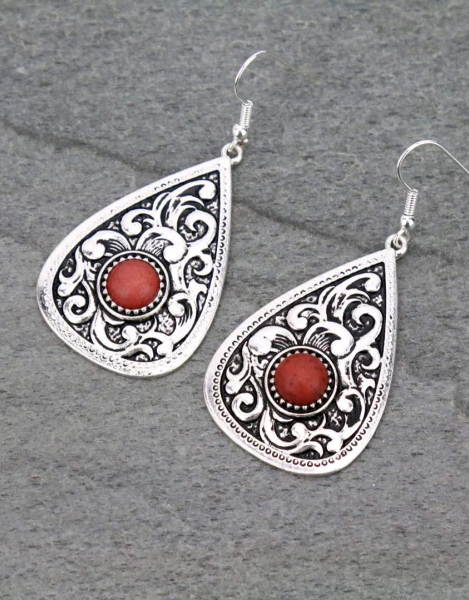 EARRINGS PATTERNED TEARDROP CASTING WITH RED STONE DANGLE