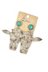 EARRING HANDMADE HAIR ON HIDE NATURAL LEATHER STONE STUD TURQUOISE