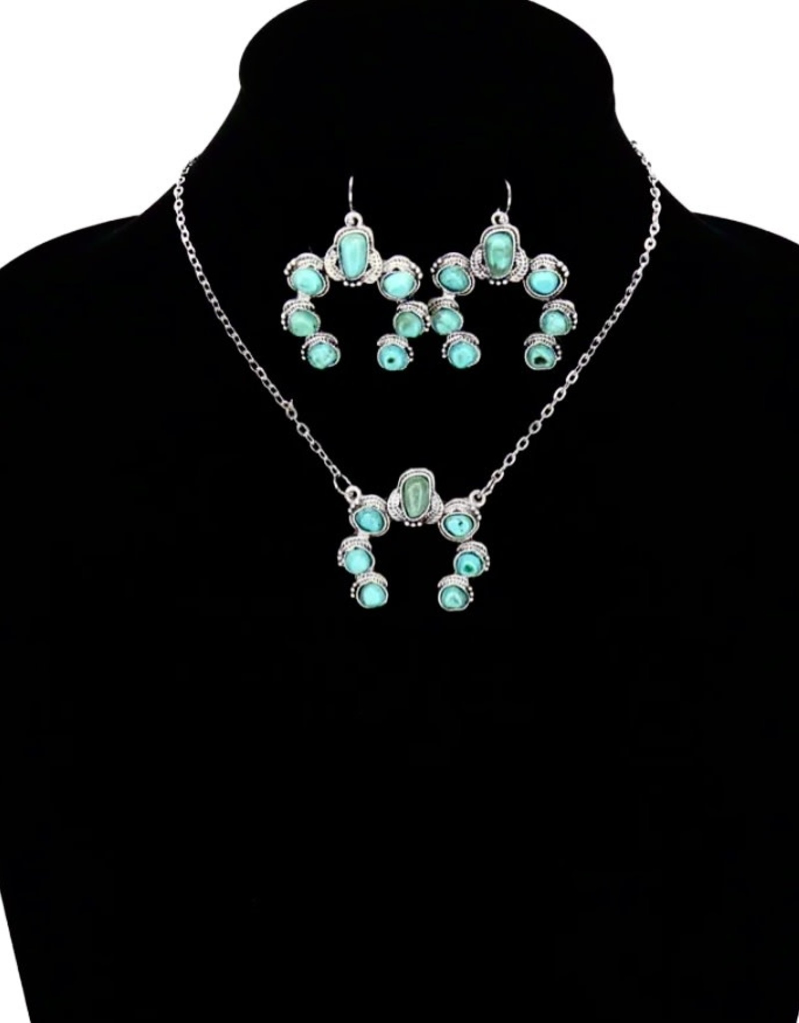 """NECKLACE SET SQUASH BLOSSOM ON CHAIN SET NATURAL STONE TURQUOISE 15"""""""