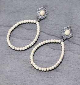 EARRING TEARDROP DANGLE STONE BEAD DIAMOND POST
