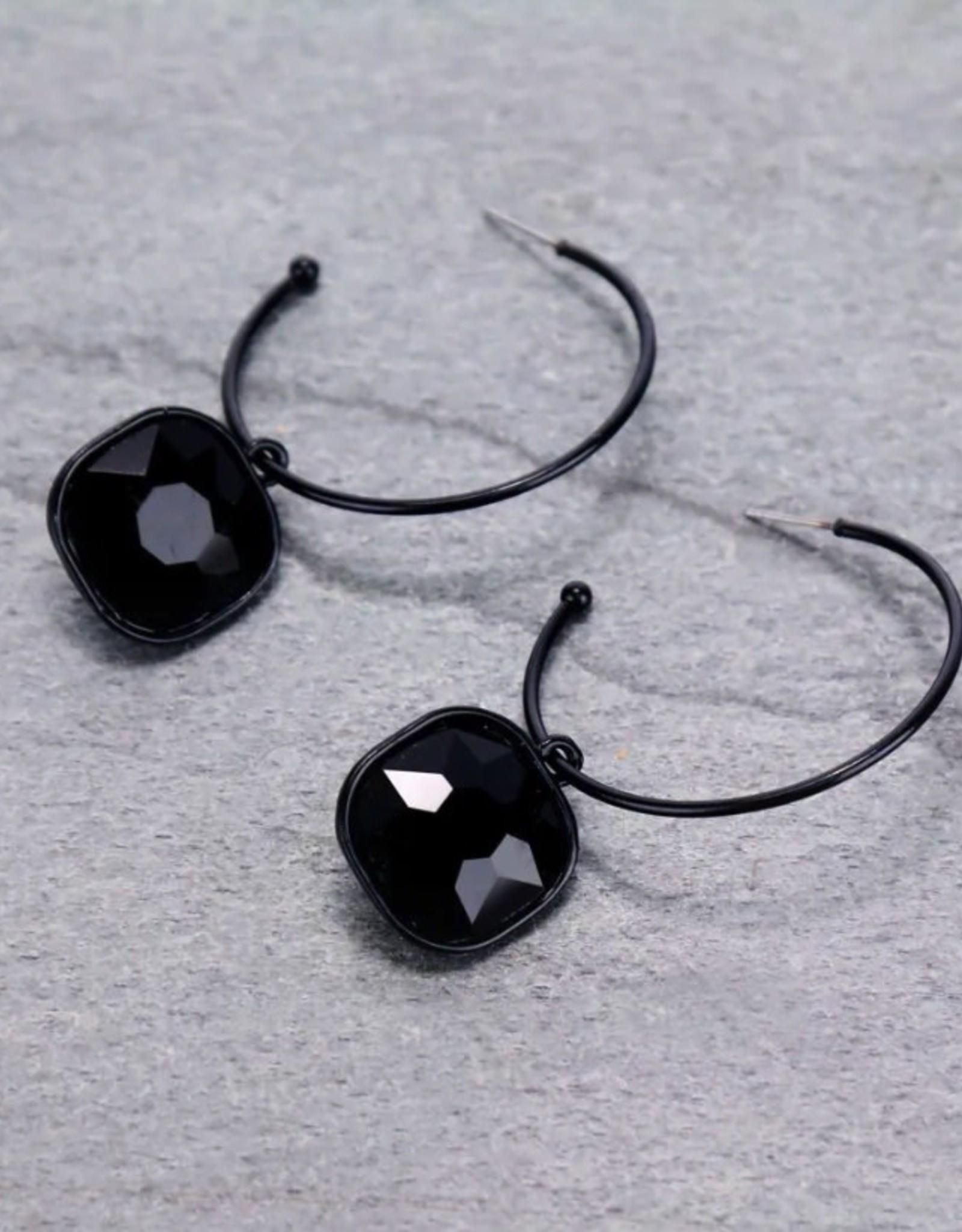 EARRING GLASS STONE HOOP DANGLE