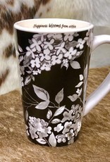 FLORAL NOIR MUGS (HAPPINESS BLOOMS FROM WITHIN)
