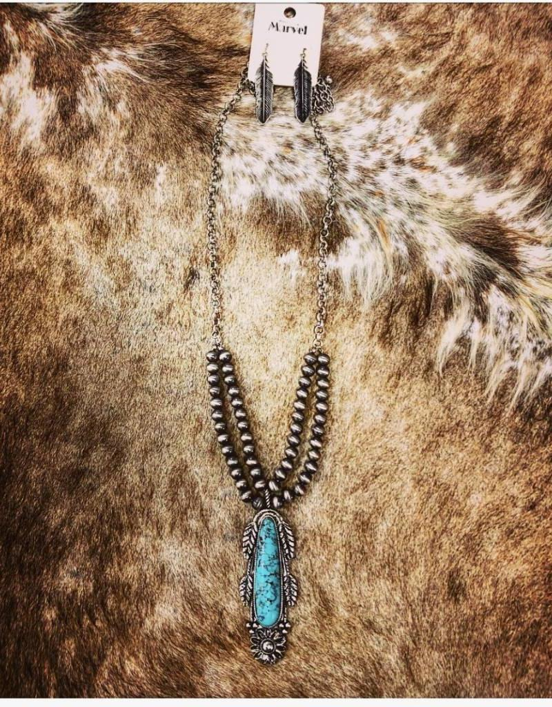 NECKLACE SET WESTERN BURNISHED SILVER AND TURQUOISE COLOR