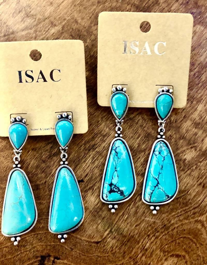 TURQUOISE TEARDROP POST NATURAL STONE EARRING