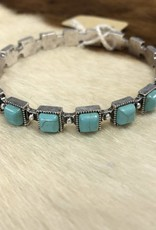 BRACELET STONE SQUARE BANGLE TURQ COLOR