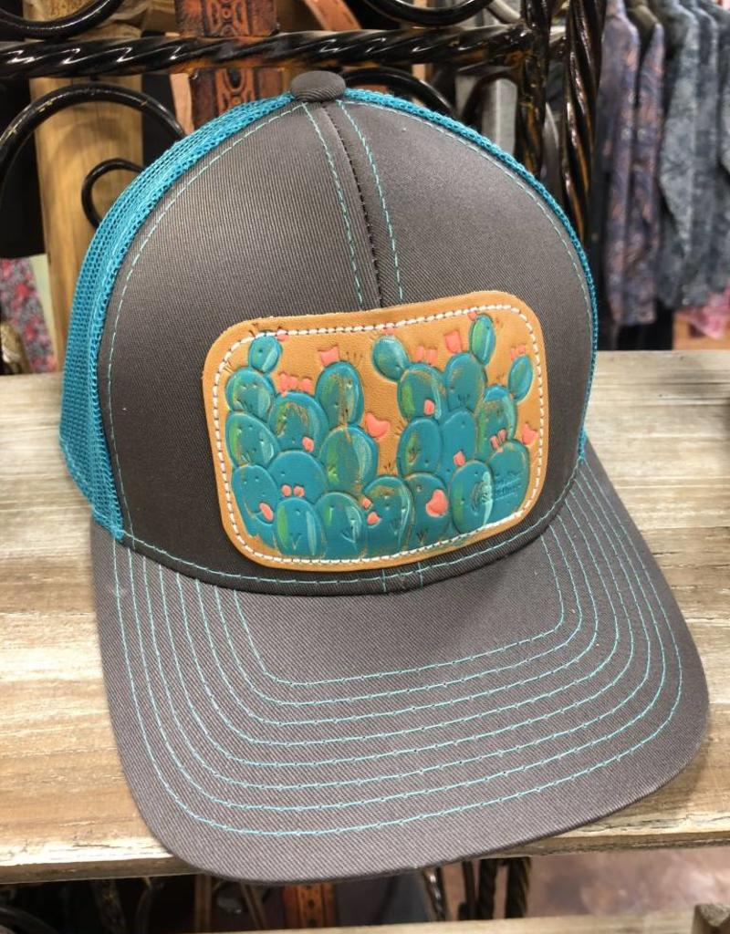 23c277e2b CHARCOAL/TEAL BLUE CACTUS HAT LEATHER PATCH HAND PAINTED MCINTIRE SADDLERY