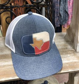 HAT TEXAS CHAMBRAY CAP LEATHER PATCH HAND PAINTED MCINTIRE SADDLERY
