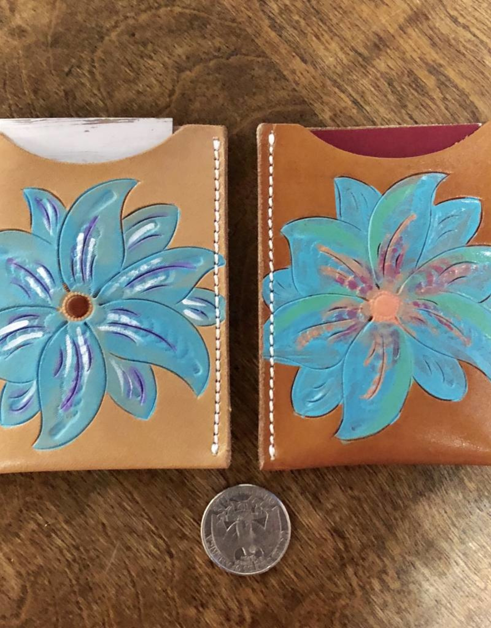 TURQUOISE FLORAL CARD HOLDER MCINTIRE SADDLERY