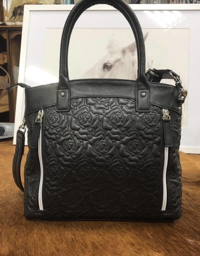 PURSE BLK ROSE PATTERN GTM LAMBSKIN GTM-61/BLK