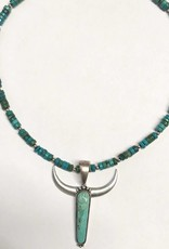 NATURAL STONE LONGHORN NECKLACE BEADED CHAIN