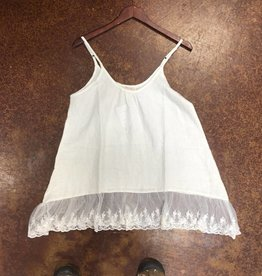 SLEEVELESS COTTON LINEN LACE CAMI CREAM