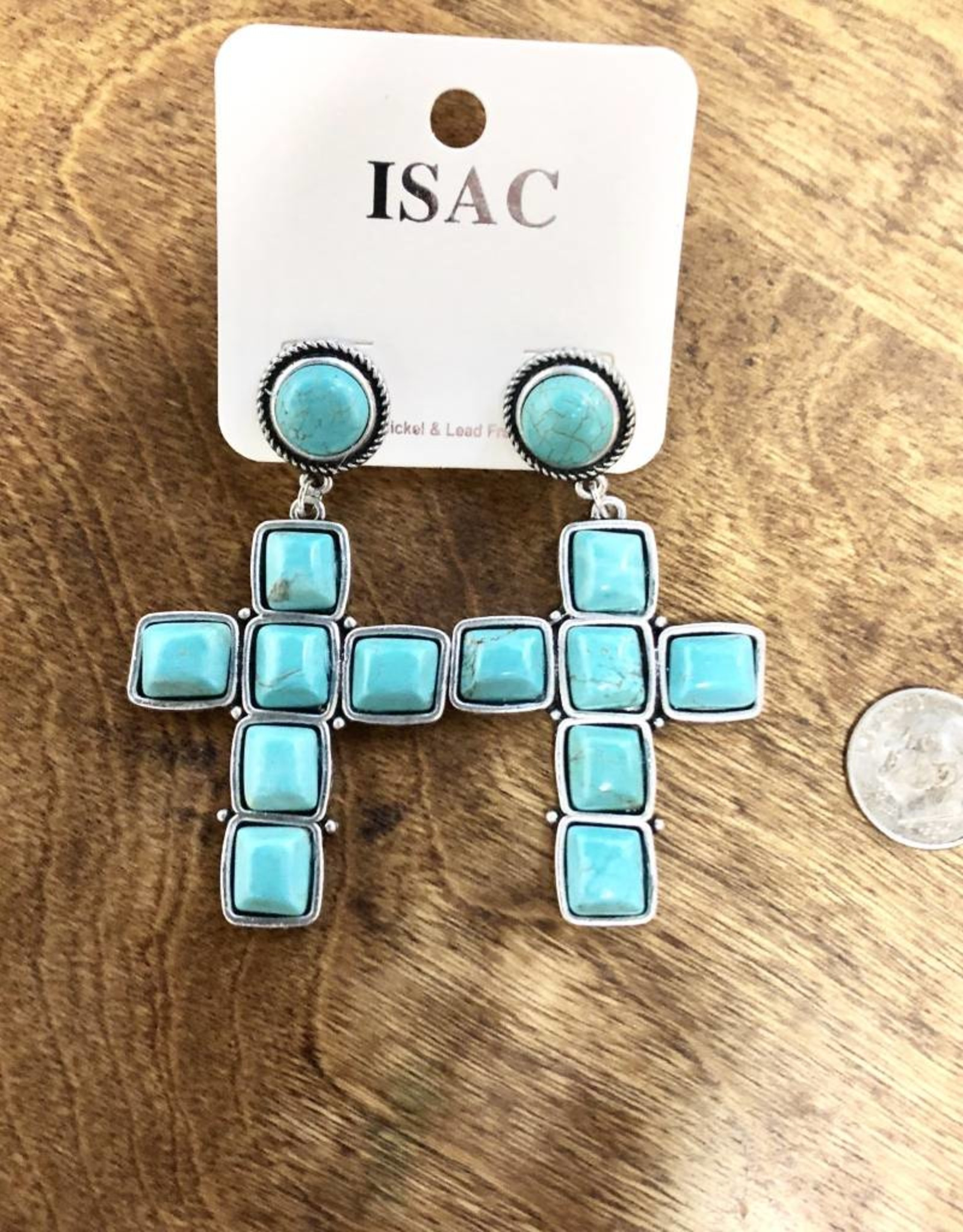 EARRING SQUARE TURQ CROSS ROUND POST NATURAL STONE