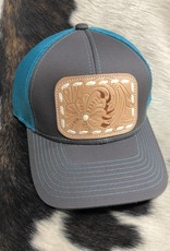 CAP CHARCOAL/TEAL NATURAL TOOLED CAP-08