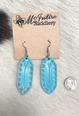 EARRING BAR ARROW TURQUIOSE LEATHER