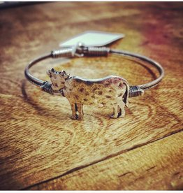 BRACELET COW HAMMERED METAL ALLOY SILVER TONE
