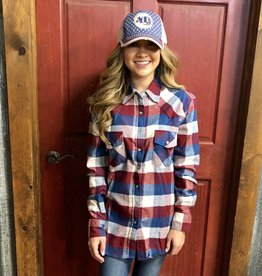WMNS PLAID L/S SNAP MAROON BLUE SHIRT