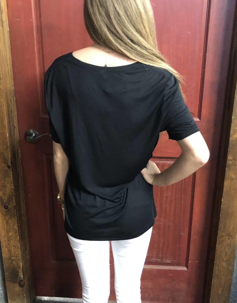 T-SHIRT TIN HAUL BE THE LIGHT V NECK SOFT BLACK VISCOSE
