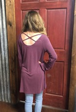 ARIAT WMS GYPSY TOP BEATOUTE TUNIC L/S CRISS CROSS BACK