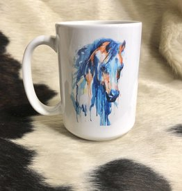 COFFEE MUG PAINTED HORSE image on both sides