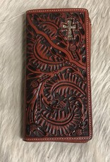 3D WALLET RODEO ENGRAVED HAIR INLAY CROSS