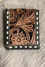 "3D WALLET TOOLED SUEDE INLAY BUCK STITCH LEATHER SUEDE INLAY BUCK STITCH 4"" X 4 1/2"""