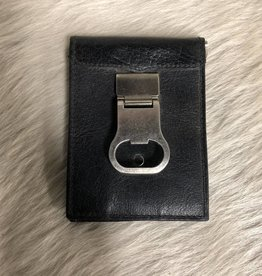 3D WALLET BOTTLE OPENER & CLIP BLACK LEATHER